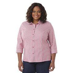 4a67f96a1fb23 Basic Editions Women's Plus Y-Neck Blouse - Striped Plus Size Tops, Plus  Size