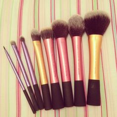 Real Techniques- the cheapest and best brushes I've used. $9 per brush from ulta kits for $18.