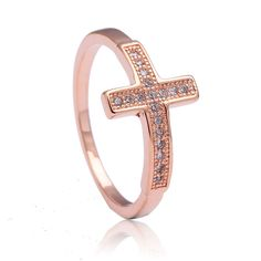 Cross rings for women engagement jewelry wedding gift classic luxury new large rose Gold Color cz promise promise ring #Affiliate