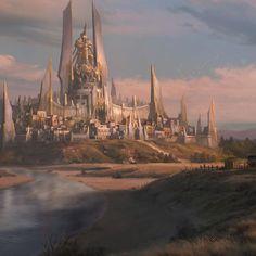 Elven architecture Fantasy city Fantasy concept art Fantasy castle