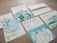 Emerald + Aqua Wedding Invitations