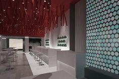 Kitchen bar restaurant plan and design Restaurant Plan, Interior Design And Construction, Cyprus, Ceiling, Curtains, Bar, How To Plan, Kitchen, Home Decor
