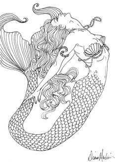 Realistic Mermaid Coloring Pages | coloring pages