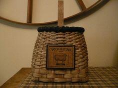 Primitive Handwoven Wool Storage Basket by 1803ohiofarmbaskets,