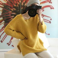 Womens Loose Oversize Knit Sweater Yellow Cardigan by HKiwei, $45.00