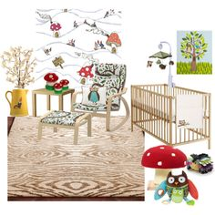 Woodland Nursery Decor with toadstools, gnomes, owls, hedgehogs, woodgrain rug, and trees.