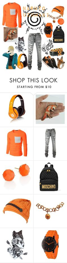 """Naruto Uzumaki Outfit"" by vampirekitty34 ❤ liked on Polyvore featuring Beats by Dr. Dre, Ippolita, Moschino, Monet, Olivia Pratt, Nach, mens, men, men's wear and mens wear"