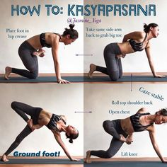 #JasmineYogaTutorial : #Kasyapasana  My 'cheat cheat' way of getting into this pose. Short arm problem  It is impossible for me to bind AFTER getting into side plank. So the only option was to bind before actually going into the pose. Here i show you how I do it, try so u can at least experience how it feel like to find that bind.  The tricky part with this transition is in step 3. Lifting the knee and ground foot needs to happen simultaneously. For that to happen, the drishti is soooo im...