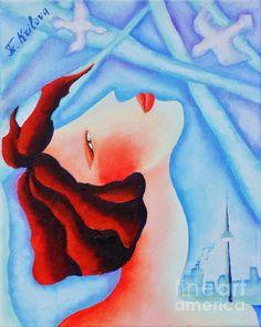 Good Morning Toronto by Tatjana Krilova Oil Paintings, Good Morning, Toronto, Greeting Cards, Wall Art, Canvas, Buen Dia, Tela, Bonjour
