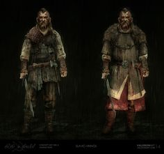 Dark fantasy, dirty and ragged slav / viking from Life is Feudal concept art