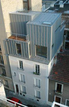 Architecture Arc, Parasitic Architecture, Contemporary Architecture, Building Extension, Roof Extension, Building Facade, Habitat Collectif, Metal Cladding, Adaptive Reuse