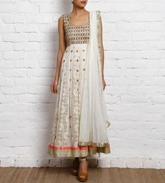 off white hand embroidered georgette anarkali