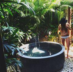 Boho Home :: Bathroom :: Tropical :: Beach Style :: Outdoor Showers + Baths :: Relax + Unwind :: Bathing Beauty :: Free Your Wild :: See more Bohemian Home Decor + Design Inspiration @untamedorganica