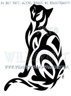 Tribal Short-Haired Cat Design by WildSpiritWolf.deviantart.com on @deviantART