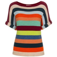 Paul Smith Women's Multi-Coloured Stripe Wool-Cotton Sweater (€185) ❤ liked on Polyvore featuring tops, sweaters, colorful striped sweater, boatneck sweater, blue striped sweater, boat neck sweater and blue top