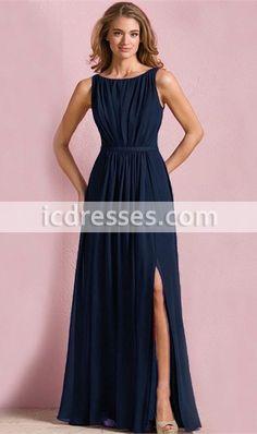 Coral Color Plus Size High Boat Neck V Back Slit A Line Navy Blue Purple Chiffon Long Bridesmaid Dresses Cheap 2016