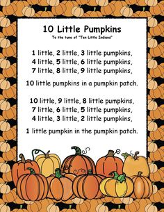 """Posters & Anchor Charts: FREE Little Pumpkins"""" song poster. Super-fun way to help your students learn how to count backwards. Freebie includes 10 pumpkin cards you can use as manipulatives. Fall Preschool Activities, Preschool Music, Preschool Lessons, Preschool Learning, Preschool Thanksgiving Songs, Halloween Songs Preschool, Circle Time Activities, Therapy Activities, Learning Activities"""