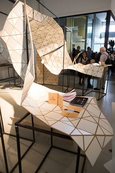 Ventura Lambrate 2014 Salone del mobile on Behance Flexible Wood, Digital Fabrication, Facade Architecture, Woodworking Projects, Behance, Origami, Design, Chairs, Mesh