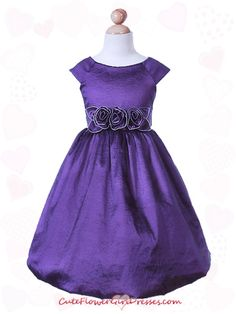 purple flower girl dresses | Purple Taffeta Flower Girl Dress