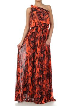 Orange Full Length One Shoulder Pleated Dress With A Waist Tie