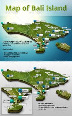 3D Map of Bali - Objects Illustrations