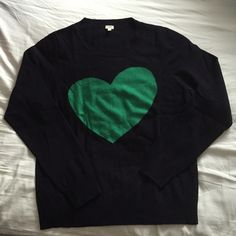 J. Crew heart sweater J. Crew lightweight sweater made of rayon, nylon and wool. Scoop neck. Navy background with kelly green heart - so cute! No tags but never worn, looks like new. Size XL, smoke- and pet-free home. J. Crew Sweaters Crew & Scoop Necks