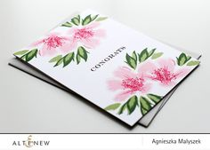"""simple one-layer card using Springtime Azalea Stamp Set (multi-layer set). congrats"""" sentiment form the Sentiments & Quotes Stamp Set in the centre of my card. Then, I created a floral arrangement using images form the Springtime Azalea set. I chose to use here the following Altenew Crisp Dye Inks: Rose Quartz, Cotton Candy, Coral Berry and Ruby Red for the flowers along with Forest Glades and Evergreen for the leaves. I also used a little flower bud stamp with green ink to mimic"""
