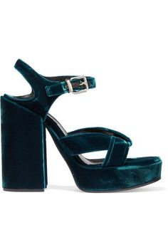 Jil Sander - Velvet Platform Sandals - Teal - IT