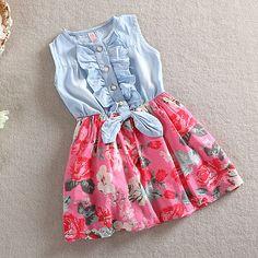 Baby Girls Dress Lovely Kids Jean Denim Bow Flower Ruffled Sundress Dress for Girls Clothing Costume Girls Formal Dresses, Little Girl Dresses, Cute Dresses, Summer Dresses, Floral Dresses, Baby Dresses, Red And White Dress, Knit Baby Dress, Girls Jeans