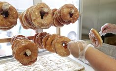 The Yoders, a Mennonite family from McKenney, Va., and their friends make sourdough donuts to sell at the South of the James Farmer's Market. Donut Logo, Restaurant Delivery, Food & Wine Magazine, First Bite, Doughnuts, Food Truck, Farmers Market, Wine Recipes, Macaroni And Cheese