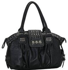 Amazon.com: Black Designer Inspired Metal Studded Soft Leatherette Shopper Hobo Tote Shoulder Bag Satchel Handbag Purse: Clothing