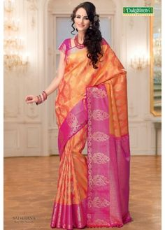 Golden Mustard Colored Mango Jari Butta Body with Pink Colored Big Butta Stylish Border Wedding Pure Silk Saree. http://www.shreedevitextile.com/women/sarees/bridal-silk-sarees/shree-devi/golden-mustard-colored-wedding-pure-silk-saree