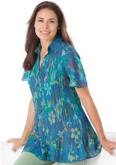 Blouse in crinkle georgette by Only Necessities® | Plus Size Shirts & Blouses | Woman Within