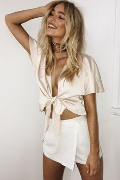 silk tie top and white skirt, outfit ideas, fashion blogger, blogger style, summer outfit trends, ootn