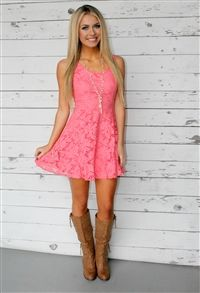 Boutique, Dresses, Holding On To You Lace Dress - Coral