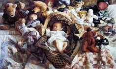 "The newborn lies sound asleep in a basket surrounded by stuffed teddy bears. This print is signed and numbered and is available unframed in size 27""x16"" A Hors de Commerce"