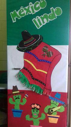 Puerta escolar septiembre Infant Classroom, Classroom Door, Classroom Themes, Mexican Party Decorations, School Decorations, Mexican Crafts Kids, Mexican Art, Mexican Birthday, School Doors