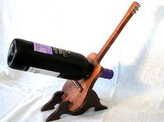 Wooden Wine Bottle Holder Guitar Design Original by Beecherwood. $65.00, via Etsy.