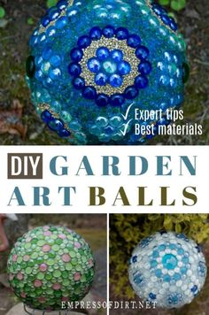 How to make decorative garden art balls. Find out how to create with glass gems, bowling balls, and more. How to make decorative garden art balls. Find out how to create with glass gems, bowling balls, and more. Diy Garden Projects, Diy Home Decor Projects, Garden Crafts, Diy Garden Decor, Garden Whimsy, Garden Junk, Garden Decorations, Diy Outdoor Decorations, Garden Ideas