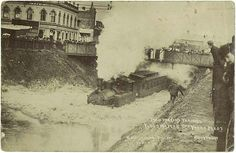 Train passing through flood waters, South Yarra, 25th January 1907. #history #melbourne