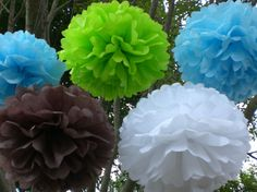 IT'S A BOY Baby Shower Decorations 8 Hanging Tissue by TeroDesigns