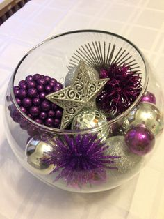 Purple and silver themed Christmas centrepiece