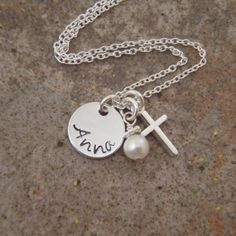 Hey, I found this really awesome Etsy listing at https://www.etsy.com/listing/125300813/tiny-name-and-cross-necklace-baptism