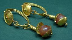 ANCIENT GOLD & CARNELIAN EARRINGS GRECO-ROMAN 200 BC-100 AD  Price : 1,250.00  Ends on : 3 weeks    - #Ancient, #Egypt