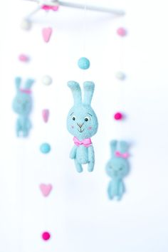 Baby Mobile  Needle Felted Bunny Mobile Nursery Decor by OolyWooly