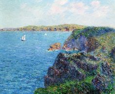 Cliffs At Cape Frehel 1905 Poster by Loiseau Gustave. All posters are professionally printed, packaged, and shipped within 3 - 4 business days. Post Impressionism, Impressionist, Art Database, Oil Painting Reproductions, France, French Artists, Oeuvre D'art, Great Artists, Les Oeuvres