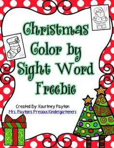 This cute Christmas freebie includes 8 color by sight word pictures.  Sight words are so important for students to learn because it teaches them to read more fluently!  These fun sheets practice many different sight words and color words!  Perfect for centers, morning work, independent work, or homework.