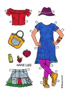 Karen`s Paper Dolls: Anne Lise 1-5 Paper Doll to Print in Colours. Anne Lise 1-5 påklædningsdukke til at printe i farver.