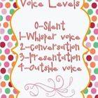 I made this poster to match the We Are Champs posters.  Display and use these voice levels as a part of the Champs behavior management system.  ... Champs Behavior Management, Behavior Management System, Classroom Behavior Management, Behavior Plans, Voice Level Charts, Whole Body Listening, Think Sheet, Polka Dot Theme, Voice Levels