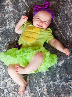 Baby Ninja Turtle Inspired Bodysuit Pettiskirt Tutu and Bow Headband Set